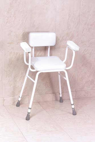 Malvern Vinyl Seat Perching Stool With Padded Arms + Padded Back