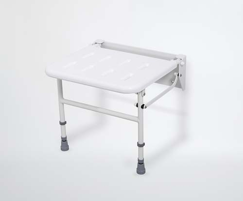 NymaPRO wall mounted folding shower seat with legs