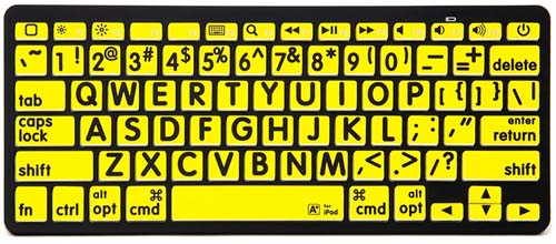 Image of the Large print keyboard stickers - black on yellow