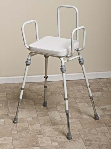 Compact Easy Modular Perching Stool with Arms + Back - Vinyl White