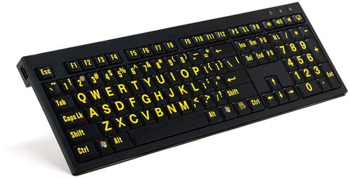 Image of the Large Print Keyboard with Detachable Light - Yellow on Black Keys (Windows Only)
