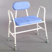 Bariatric Adjustable Height Perching stool with Tubular Arms & Padded Back