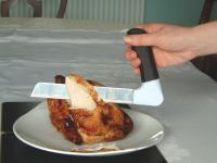 Image of the Stainless Steel Carving Knife with angled innon-slipin handle