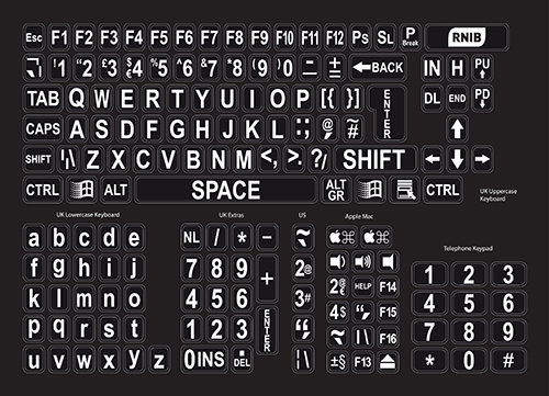Image of the Large print keyboard stickers - white on black