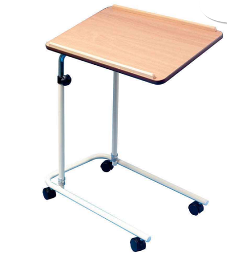 Adjustable height wheeled over bed table