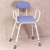 PU Moulded Perching Stool with Arms + Padded Back