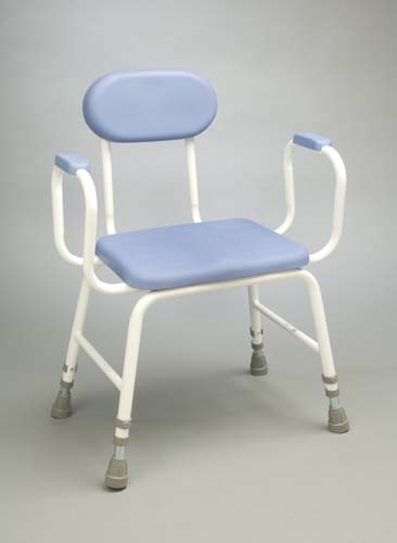 PU Moulded Perching Stool Extra Low with Padded Arms + Padded Back