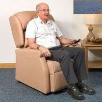 Image of the Raglan Tilt in Space Rise and Recline Chair 16in - Vinyl Dark Blue