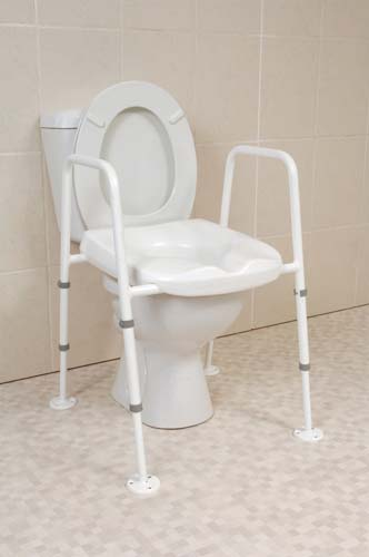 Mowbray Toilet Seat and Frame Lite - Fixed Width - Assembled with Floor Fixing Kit