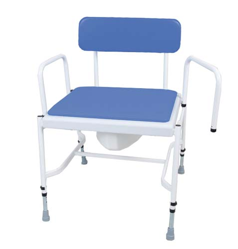 Extra Wide Commode Chair - Adjustable Height with Detachable Arms